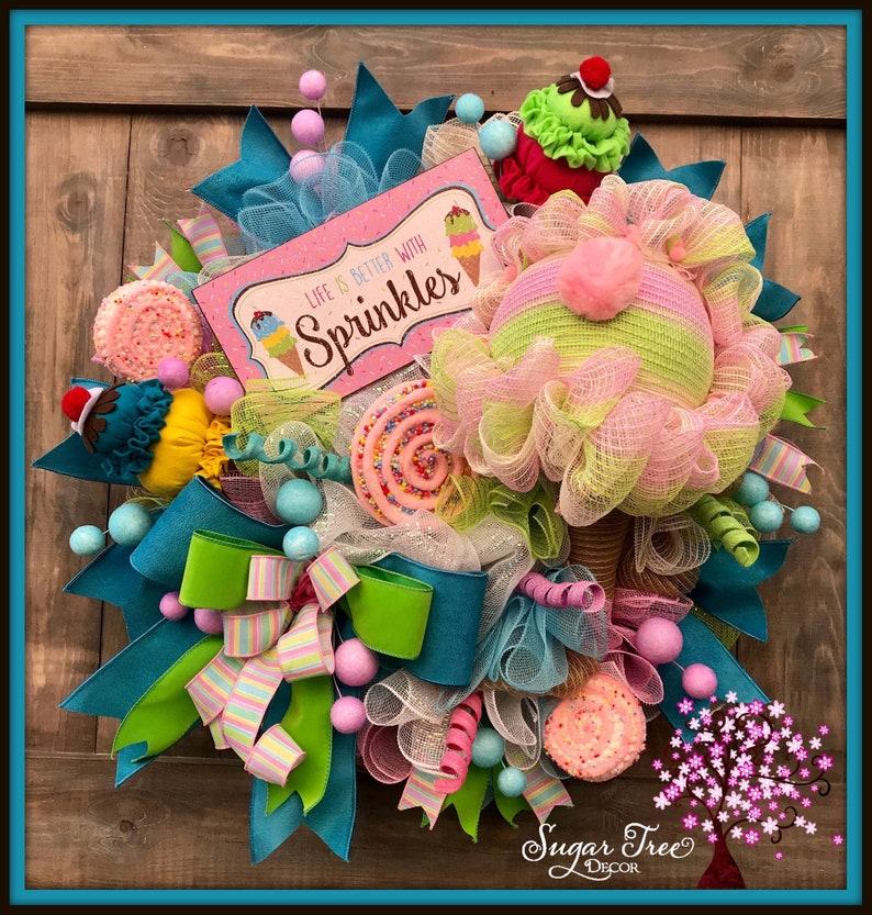 Ice Cream Wreath Ice Cream Decor Birthday Wreath Party image 0
