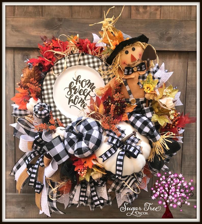 Scarecrow Wreath Fall Wreath  Halloween Wreath Door Wreath image 0