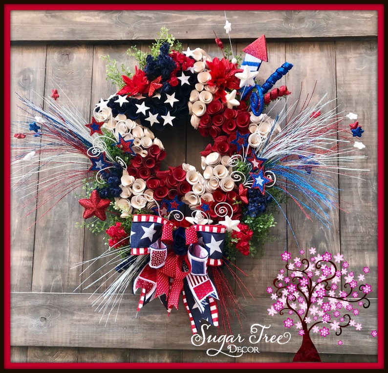 4th of July Wreath Patriotic Wreath Red White & Blue image 0