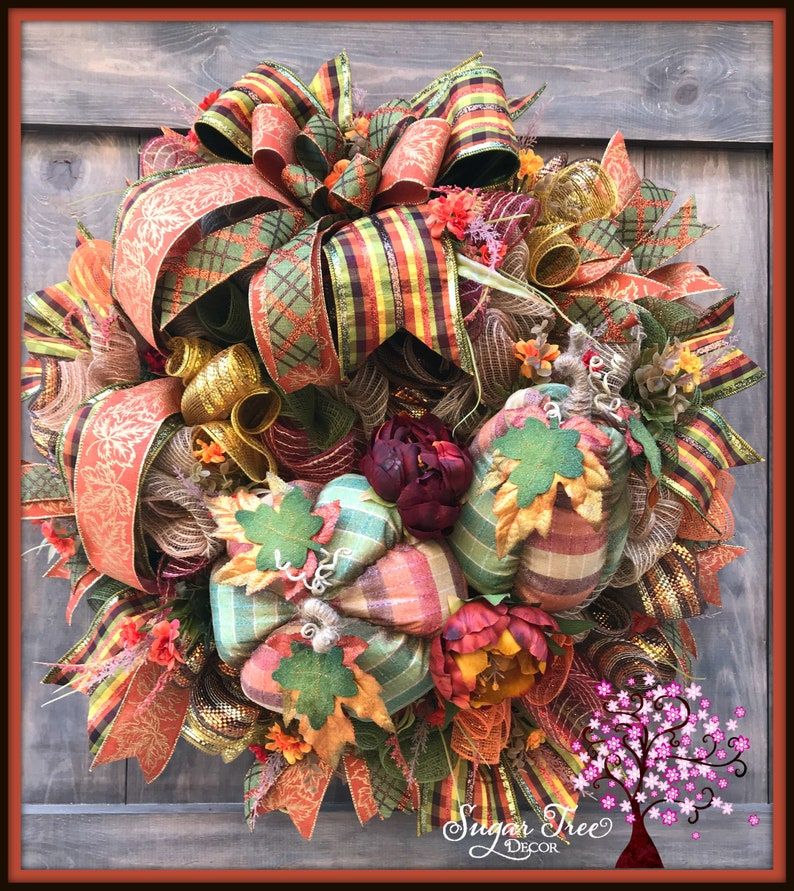 Autumn Wreath Autumn Decor Pumpkin Wreath Front Door image 0