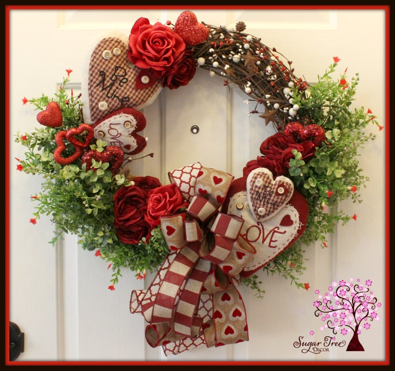 Rustic Wreath Valentines Wreath Valentines Day Wreath Door image 0