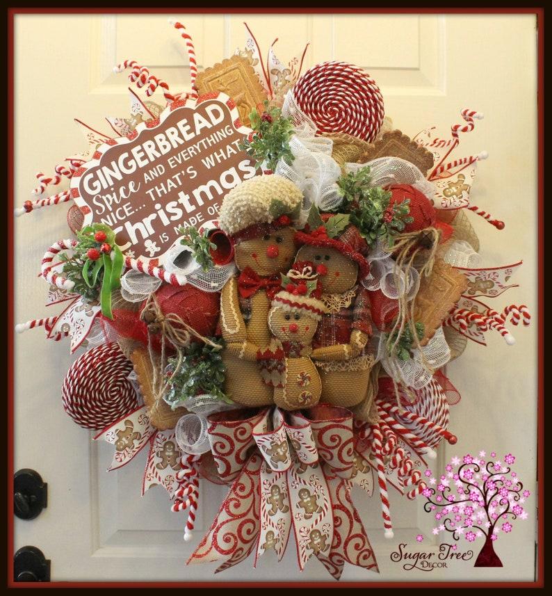Gingerbread Wreath Christmas Gingerbread Wreath Door Wreath image 0