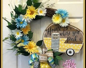 Camping Wreath, Welcome Wreath, Camping Decor, Flower Wreath, Grapevine Wreath, Home is Where You Park It Wreath, Summer Wreath, Door Wreath