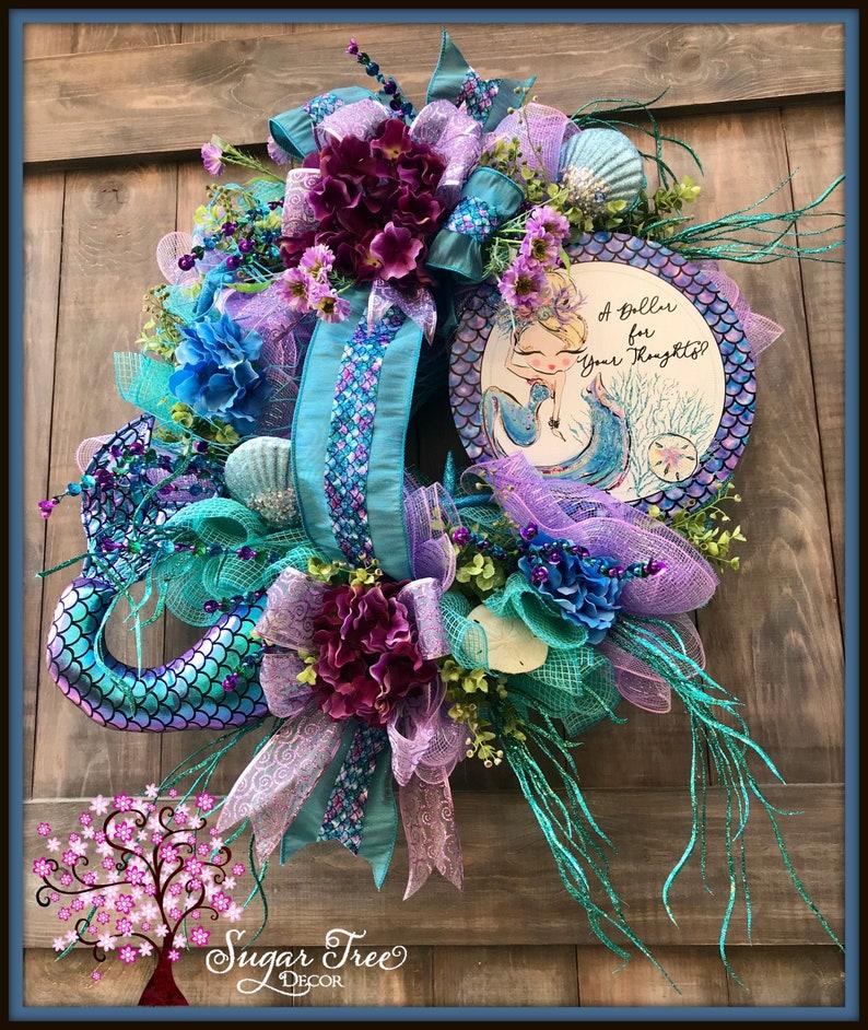 Mermaid Wreath Mermaid Tail Wreath Beach Wreath Beach image 0