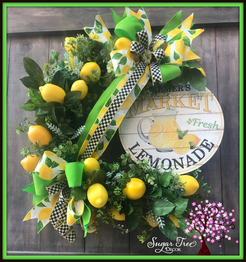 Lemon Wreath Summer Wreath Spring Wreath Front Door Wreath image 0