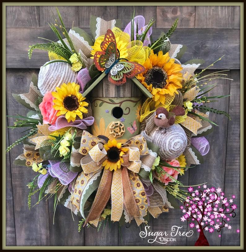 Summer Wreath Sunflower Wreath Birdhouse Wreath Spring image 0