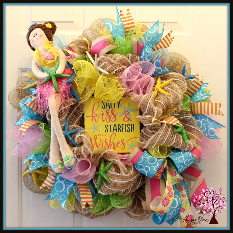 Beach Wreath Beach Themed Wreath Summer Wreath Deco Mesh image 0