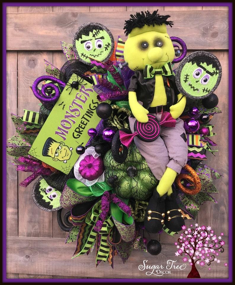 Halloween Wreath Frankenstein Wreath Halloween Decor image 0