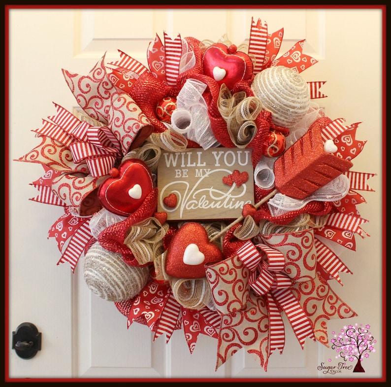 Valentines Wreath Valentines Day Wreath Door Wreath image 0