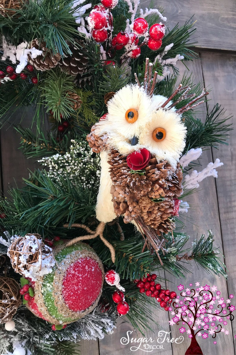 Winter Wreath Christmas Wreath Farmhouse Christmas Rustic Christmas Wreath Holiday Wreath Owl Wreath Door Wreath Farmhouse Wreath