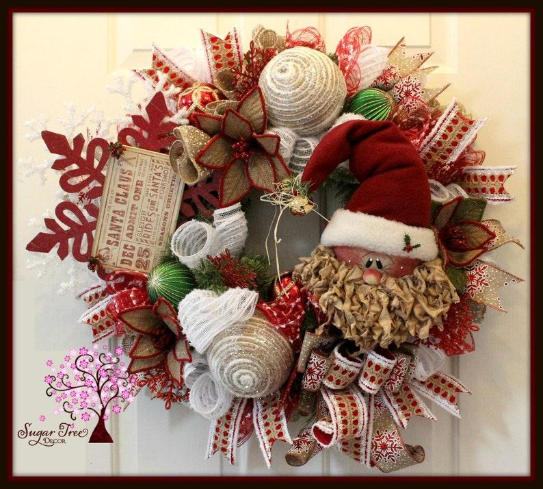 Rustic Santa Wreath Christmas Santa Wreath Holiday Wreath image 0