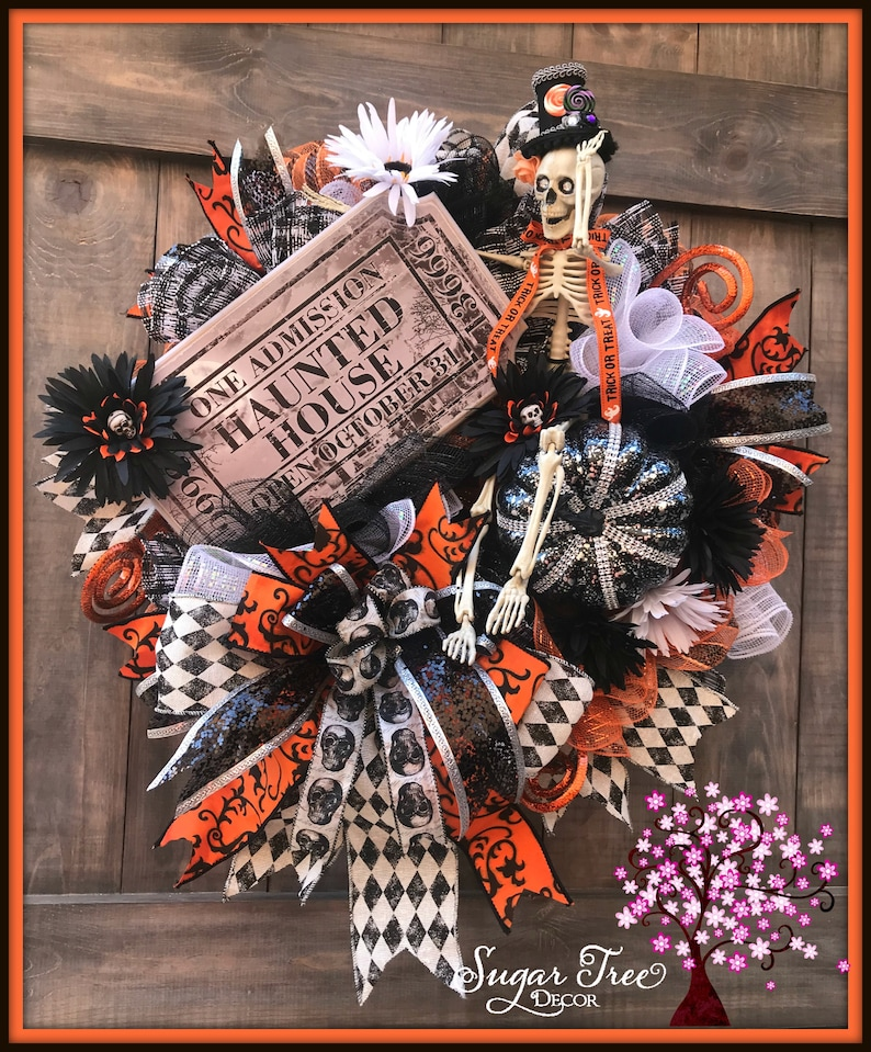 Halloween Wreath Halloween Door Wreath Skeleton Wreath image 0