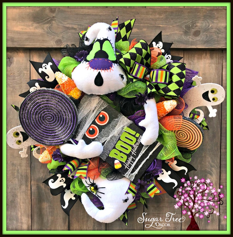 Halloween Wreath Halloween Ghost Wreath Ghost Wreath image 0