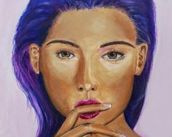 Gabrielle, Original, Art, Painting, Surreal, Pop Art, Woman, Portrait, Colorful 24x36
