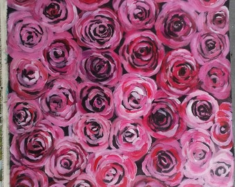 So many roses, Roses mural, original painting on canvas, wall hanging