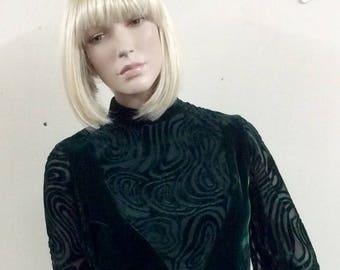 Peggy French Couture green velvet 1969s babydoll dress UK 10