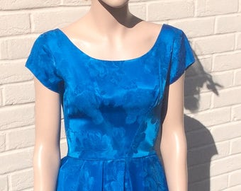 Perfect 1950s electric blue satin brocade party dress S