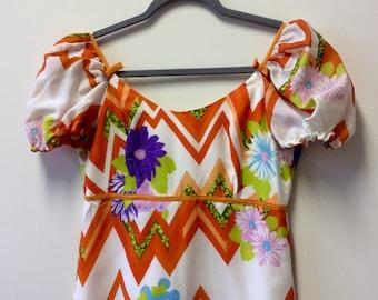 1970s orange zigzag maxi dress UK 10