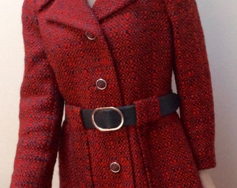 1970s high class London orange tweed dress and coat set M