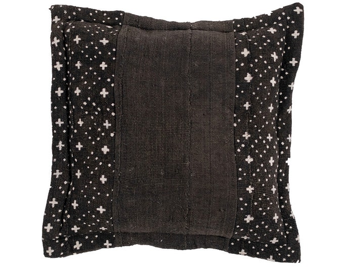 Black and Ebony Mud Cloth Pillow Cover