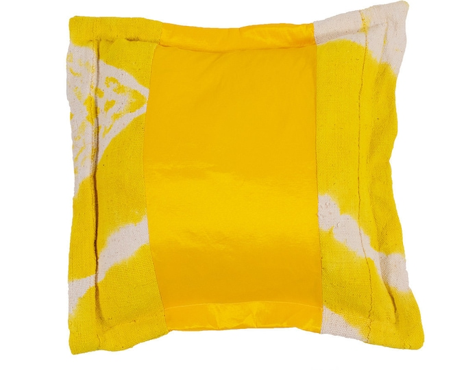 Yellow Taffeta and Golden Mud Cloth Pillow Cover