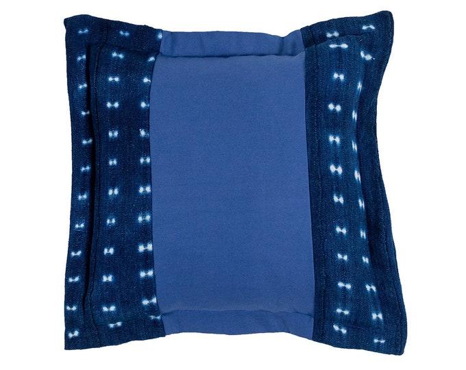 Denim and Indigo Mud Cloth Pillow Cover