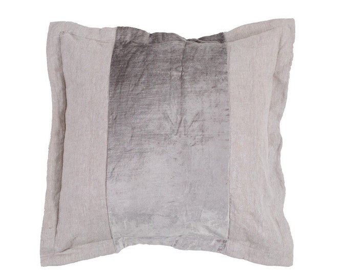 Brilliant Linen and Grey Velvet Pillow Cover