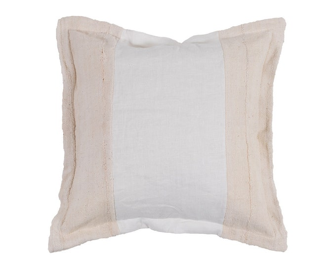 White Linen and Albino Mud Cloth Pillow Cover