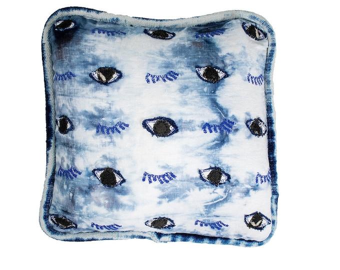Linen Shibori Cover - Hand Embroidered Eye Pillow - Indigo
