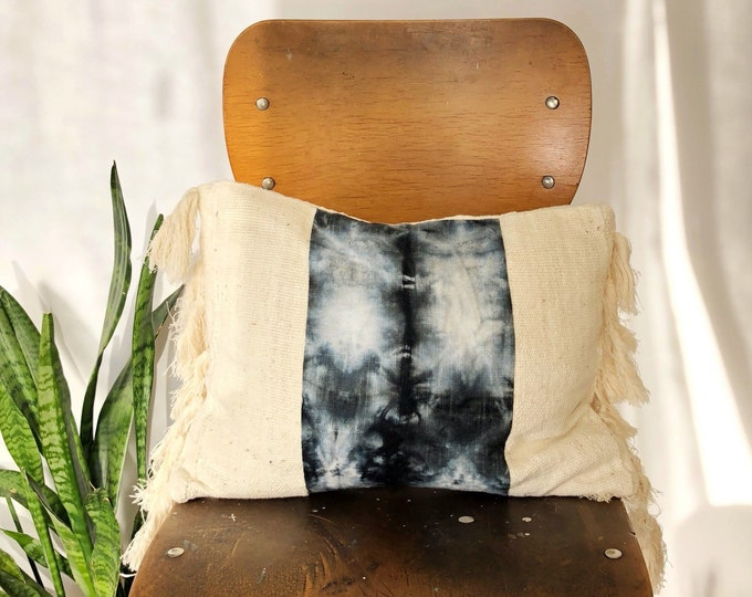 White Mud Cloth Boho Pillows + Black Dyed Linen + Fringe Pillow Covers