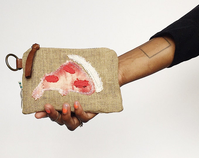 Trendy Pizza Wallet - MudCloth Zipper Pouch Made by Salvation Pillows