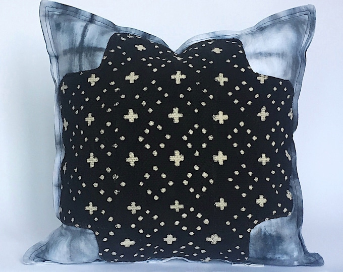 Indigenous Mid Century Pillow Cover + Black African Mudcloth - Shibori 100% Linen