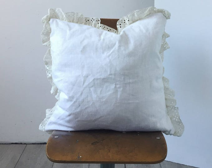 "Boho Linen and Lace Trim  Pillow - 20"" x 20"" Simple Lace Home Decor - Crochet Pillow Sham - Accent Pillow for Eclectic Homes"