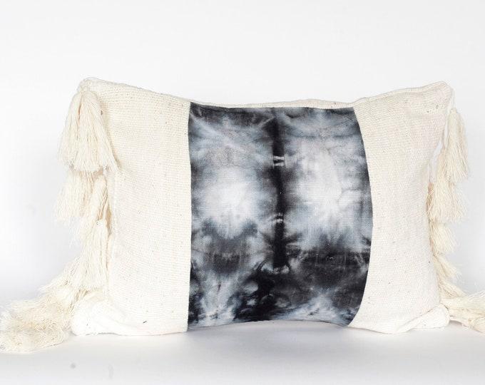 White Mud Cloth Boho Pillows + Black Dyed Linen + Fringe Pillow Covers