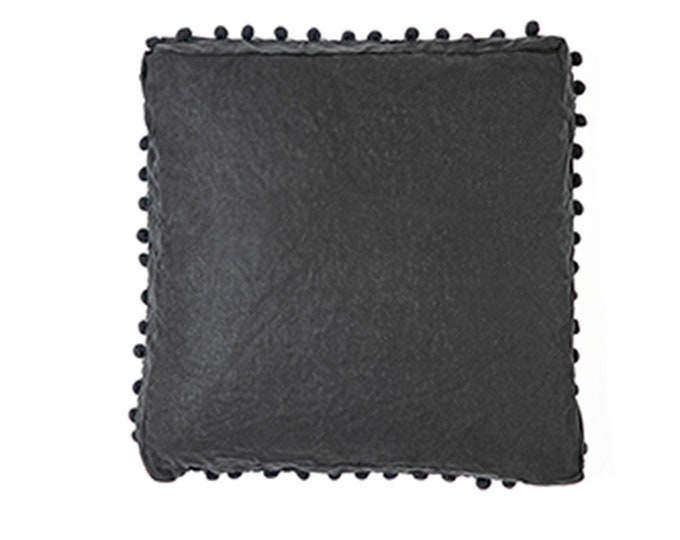Bonita Box Cushion - Black Linen - Decorative Bedding Shams - Euro + King