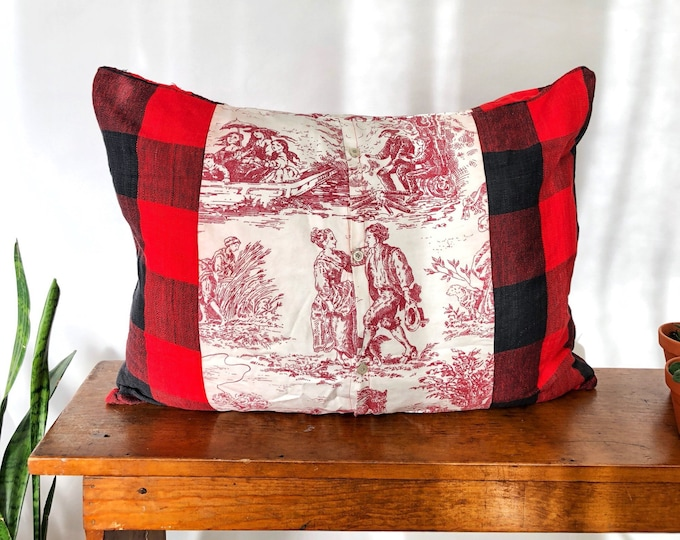 Toile de jouy and Plaid Sham -  Ornate Pillowcase Designed by Salvation PIllows