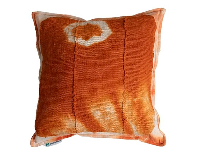 Indigenous Mod Century Pillow Covers - Authentic African Orange Mudcloth - Shibori 100% Linen