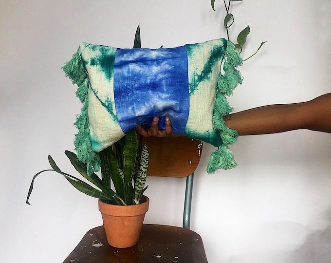 "Aqua Mud Cloth Boho Pillows + 12""x16"" Blue Shibori-Dyed Linen + Fringe Pillow Covers"