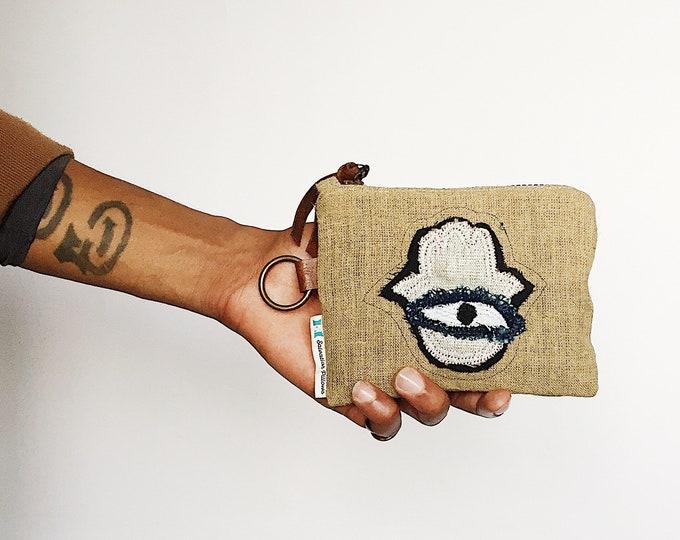 TRENDY Hamsa Wallet - Mud Cloth Zipper Pouch by Salvation Pillows