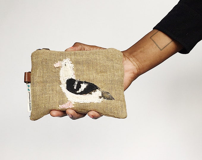 NYC Bird Trendy Cardholders - Pigeon and Dove Patch Applique - Zipper Pouch by Salvation Pillows