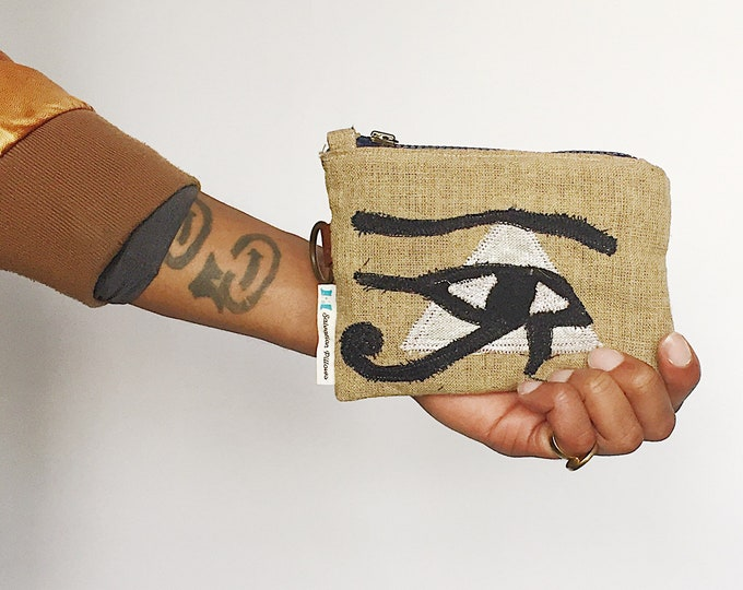 Eye of Horus Trendy Cardholder with Leather Details- Key Chain