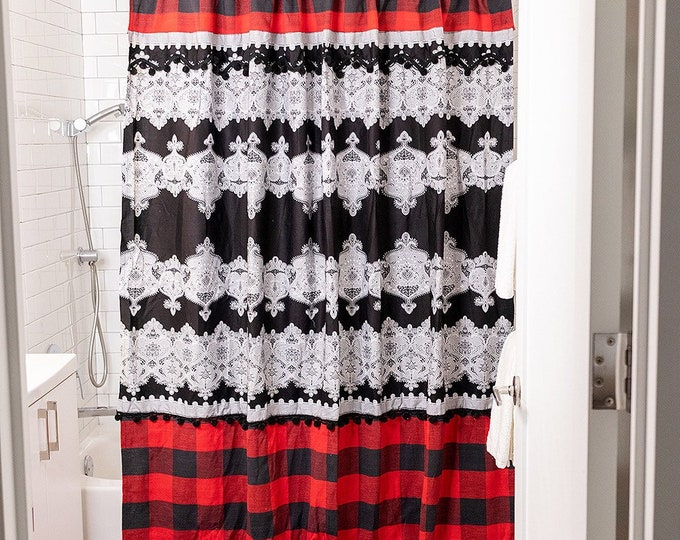 African Hand Block and Buffalo Plaid Tall Shower Curtain