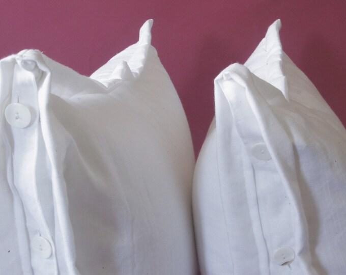 Natural Linen Pillows. Basic Button Closure Euro