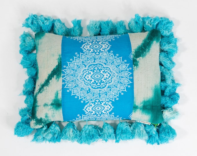 Green Mud Cloth Pillows + Screen Print Cotton + Mint Fringe Pillow Cover