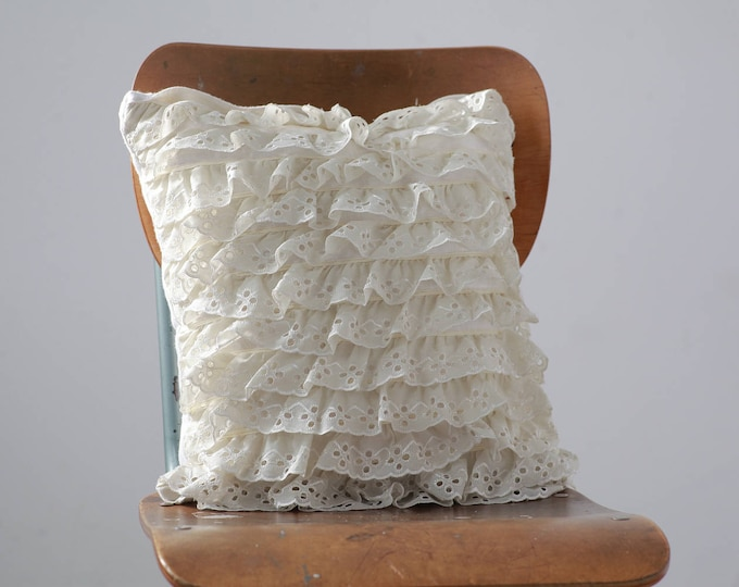 "Cascading Ruffles Throw Pillow - 16"" x 16"" White Crochet Pillow - Western Lace Accent Pillow"