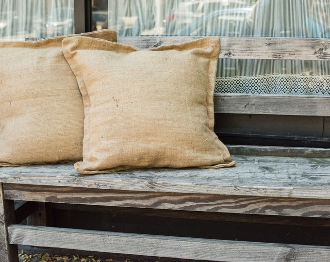 Rugged Lined Pillow Set. Organic Outdoor Cushion Covers