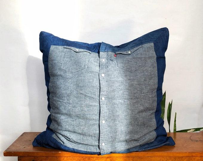 "Denim Chambray Euro - 26"" x 26"" Vintage Indigo Chambray - Fashion Pillow Sham for Bed"