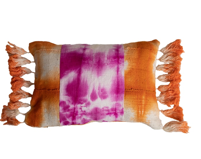 Orange Mud Cloth + Pink Dyed Linen with Dip Dyed Tassels Pillow Cover