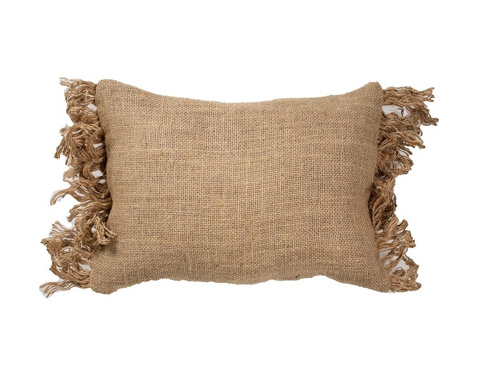 Rustic Edge. Lined Burlap Throw Pillow with INSERT