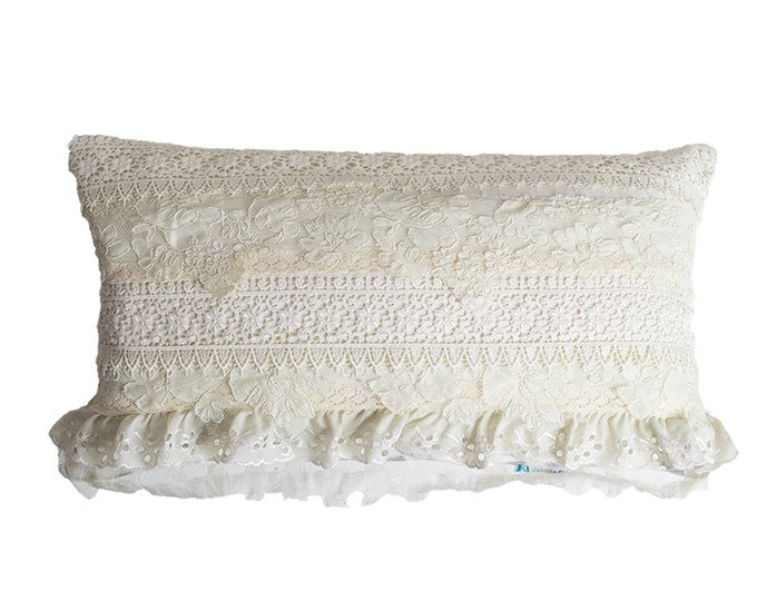 Collective Lace Lumbar Pillow Cover - Ruffle Lace Collage Decor - Available in Lumbar